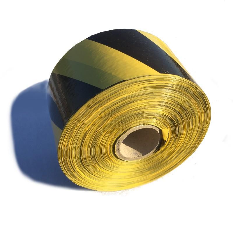Taśma ostrzegawcza żółto czarna 80 mm / 500 m