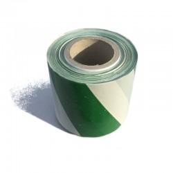 Taśma ostrzegawcza biało zielona 70mm/100m